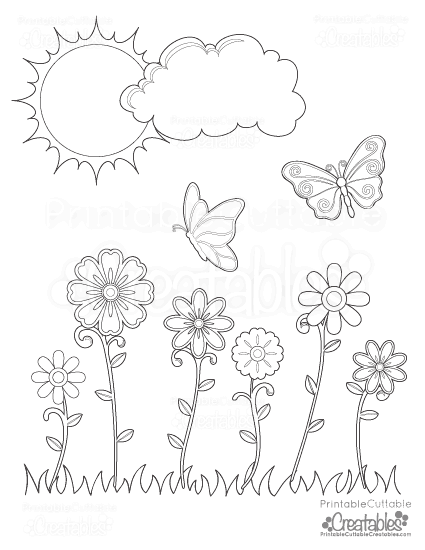 Spring Flowers Amp Butterflies Printable Coloring Page