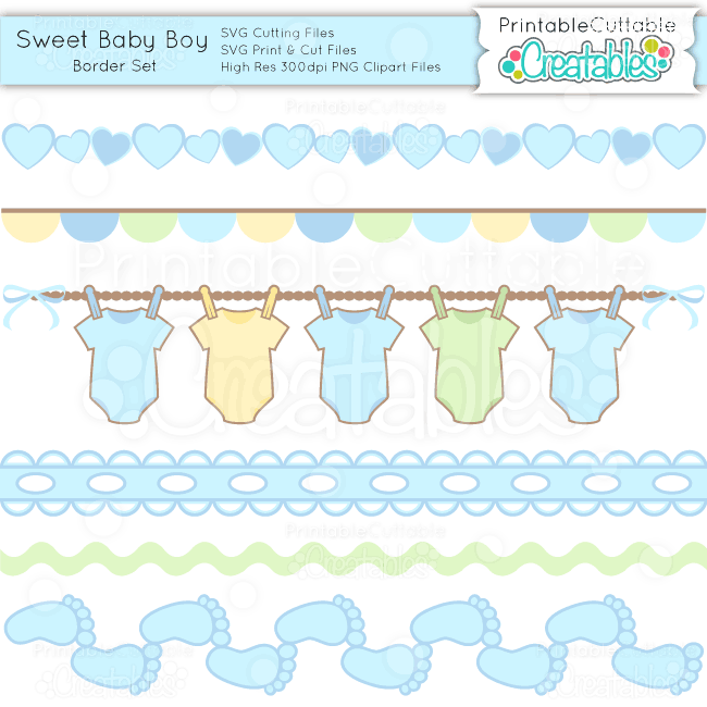 Sweet Baby Boy Borders Set – SVG Cuts & Clipart