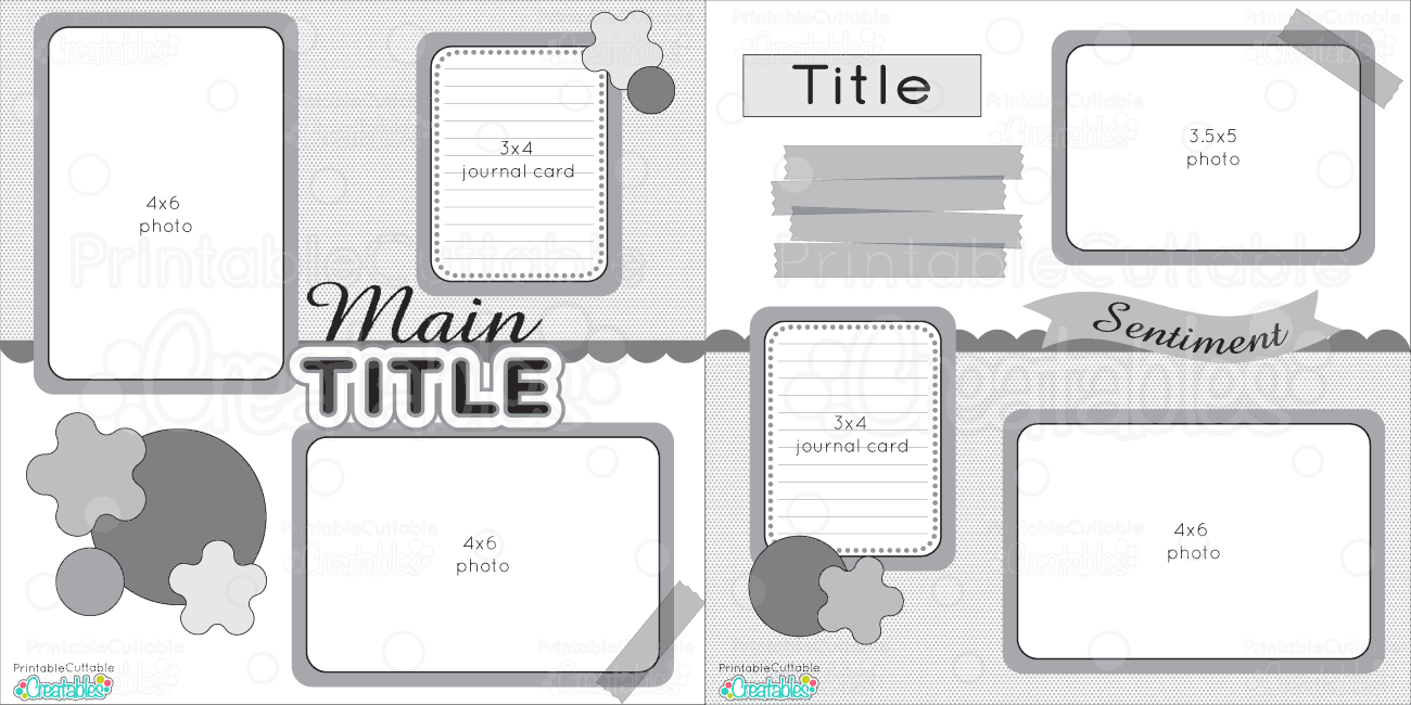 12x12 two page free printable scrapbook layout for Templates for scrapbooking to print