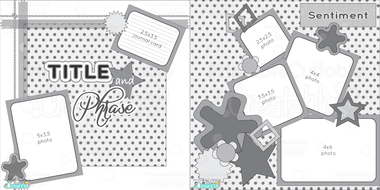 2 page 12x12 free printable scrapbook sketch printable for Templates for scrapbooking to print