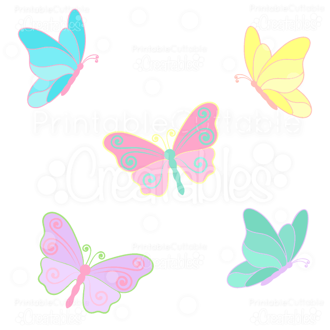 Spring Butterflies SVG Cuts & Clipart