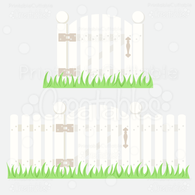 Picket Fence w/Gate SVG Cutting File & Clipart (Copy)