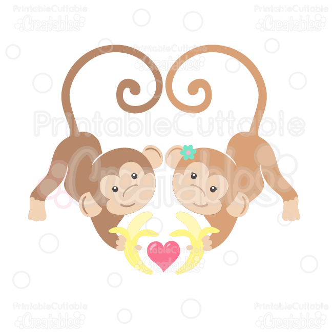 Cute cartoon monkeys in love - photo#26