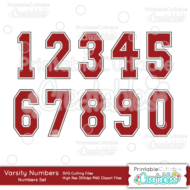Varsity Numbers FREE SVG Cut File & Clipart Set