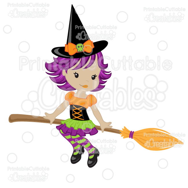 Cute Witch on Broom SVG Cutting File & Clipart