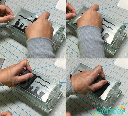 Apply vinyl decal to lighted glass block 2