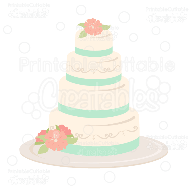 Wedding Cake SVG Cut File & Clipart