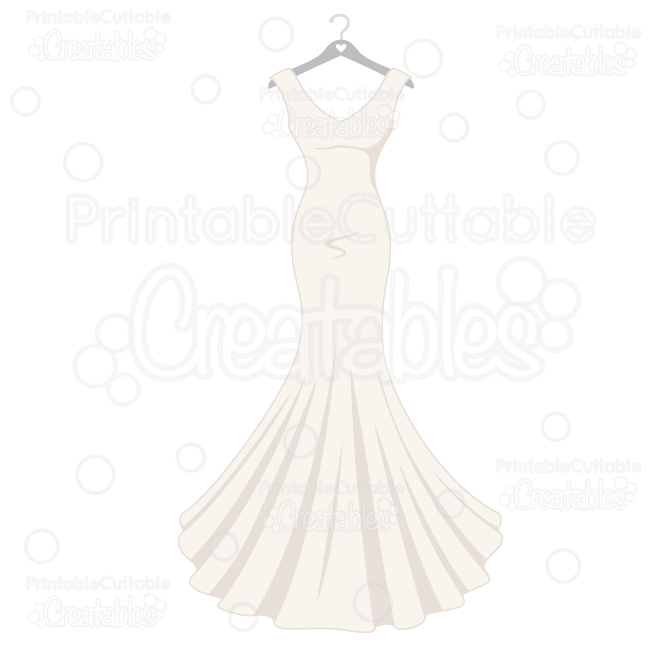 Wedding Dress SVG Cut File & Clipart